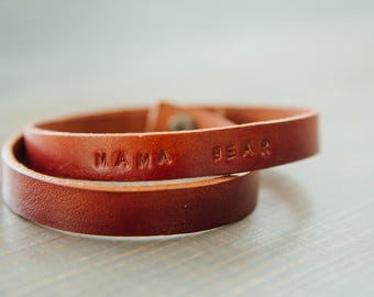 MAMA BEAR Hand Stamped Leather Bracelet