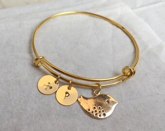 Bird bracelet, Bird jewelry, Personalized Bird bracelet, Gold Bird bracelet, Gold Bird jewelry, Initial bracelet, Gold bird initial bracelet