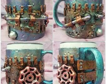"""3"""" x 3"""" Steampunk Knob Coffee Mug"""