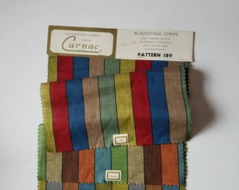 Vintage Fabric Samples, 1966, Blackstone Stripe by Carnac