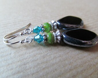 Aqua, Lime Green and Black Czech Glass Beaded Sterling Silver Earrings