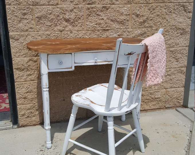 PICK UP ONLY, Vintage work table, desk, writing table, vanity, rustic, laptop desk, dressing table, farmhouse, country, shabby chic