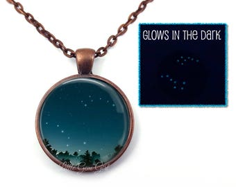Glow in the Dark Big Dipper Little Dipper Pendant - Glowing Stars Jewelry - Outer Space Necklace Pendant - Constellation Necklace