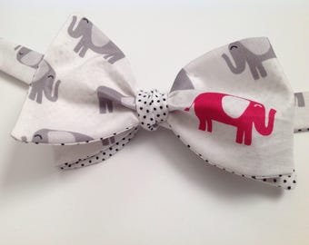PINK Elephant in the room men's bow tie reversible with tiny polka dots, tie it yourself bow tie, freestyle men's bowtie, wedding bowties, t