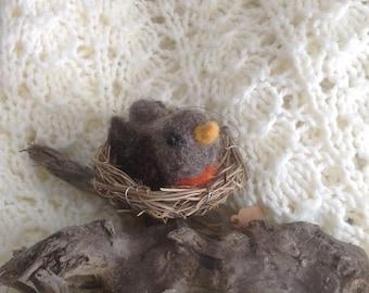 Bird, baby robin in pre-made nest, ornament