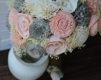 Vintage Rose, Pink and Gray, wedding bouquet, bridal bouquet, sola bouquet, rustic wedding, woodland wedding, keepsake bouquet, bridesmaid