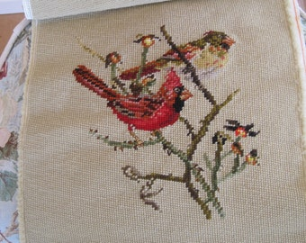 Vintage Needlepoint Cardinals Pair Male and Female Red Gold Green Brown Birds Complete