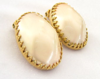 "CLEARANCE ALICE CAVINESS Large Faux Pearl Cab Earrings.  Bezel Settings with Fleur de Lis Prongs.  Gold Plating like New. -1/16""  x 3/4"""