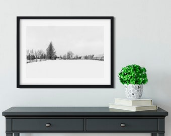 Snowy forest winter landscape Winter wall art Scandinavian print Black and white winter photo print Fine art winter photography