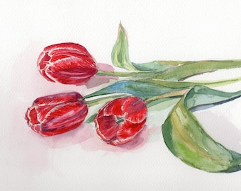 Tulip flower Bouquet Original watercolor painting