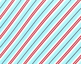 Diagonal Stripe Fabric - Choose Aqua, Green or Red - Cotton Yardage - Michael Miller - Quilting - Fat Quarter, Half Yard, By The Yard