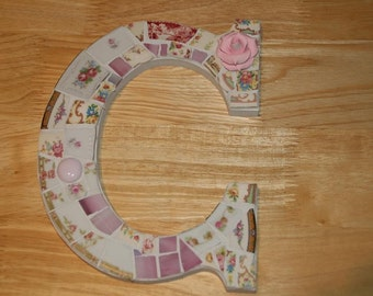 Mosaic Wall Decor Hanging  Letter Intial C