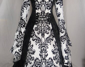 Medieval Hooded Dress Renaissance Wedding Gown fantasy gown Gothic Hooded Dress Halloween Costume Fantasy Dress Custom made to size