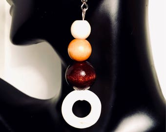 Sultry Wood and Glass Bead Earrings