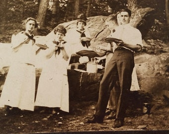 Photo of Group on Picnic in the Woods Swarthmore 1913