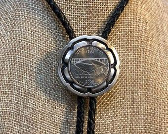 Bolo Silver Plate Celtic Wedding Knot w/ WV Quarter