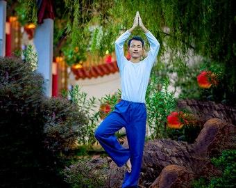Men Yoga Pants Natural Indigo Color