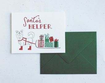 Letterpress Card- Santa's Helper