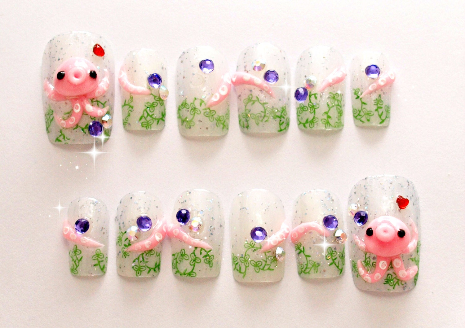 Octopus, squid, 3D nails, sea animal, nautical, kawaii nails ...