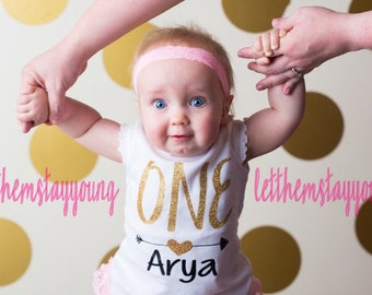 Customized First Birthday short sleeve Birthday shirt Baby Girl Shirt Baby Girl Custom 1st Birthday Shirt Gold Pink Glitter First