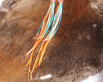 long sedona leather and feather earrings