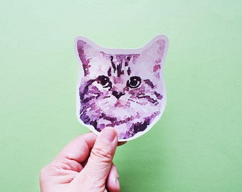 Kitty Head Big Individual WATERPROOF Sticker - Vinyl Stickers -Handmade Stickers