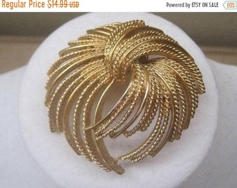 Large Gold Swirl Brooch, Vintage Jewelry, Signed MONET