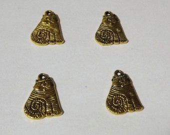 Gold Tone Carved Cats Charms - 4 pcs