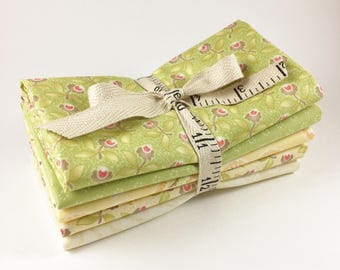 Fig Tree Fabric Bundle - Hazel and Plum Fabric - Green, Yellow & Cream -  Fat Quarter Bundle - 5pc - Moda Fig Tree Quilts Fabric