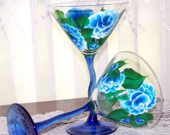 One Martini glass  handpainted blue roses