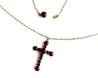 "Antique Bohemian Garnet Cross Gem 16"" Necklace ~ 1930s Deep Red Gemstone January Birthstone Religious Jewelry"