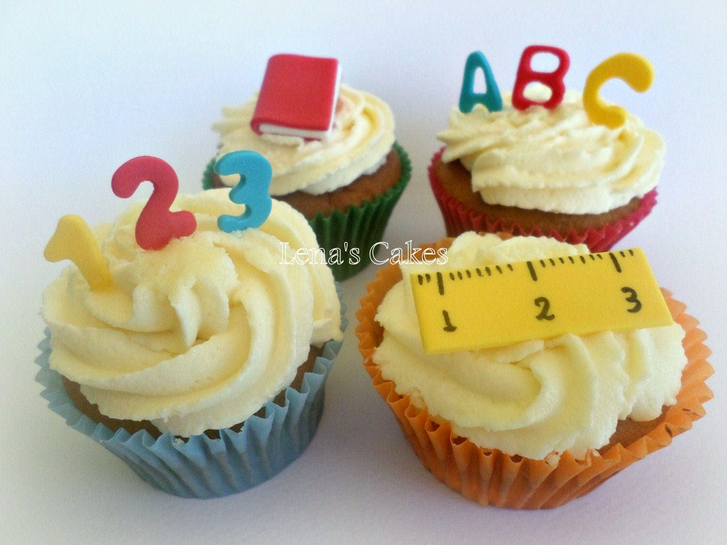 School Party Cupcake Edible Fondant Toppers Teacher Gift