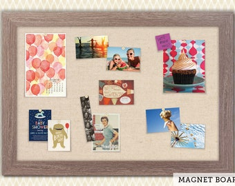 Magnetic Bulletin Boards | Framed Magnet Boards | Magnet Board | Decorative Magnet Boards - Driftwood Frame + Linen Fabric