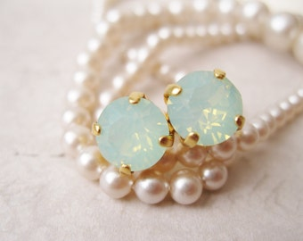 Mint Green Stud Earrings Opal Chrysolite Mint Bridesmaid Earrings Mint Wedding Light Green and Gold Simple Studs Minimalist Wedding