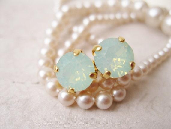 Mint Green Stud Earrings Opal Chrysolite Mint Bridesmaid Earrings Mint Wedding Light Green and Gold Simple Studs Minimalist Wedding