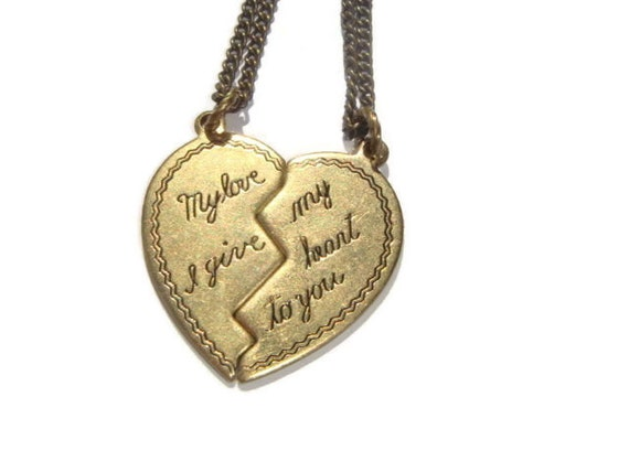 friendship friend pendants necklaces half pendant best heart pin necklace