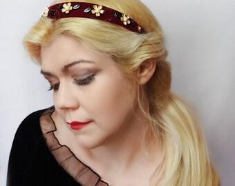 ANTONIA - handmade burgundy velvet headband, embellished brass flowers, leaf beads, fall hair piece, jeweled headpiece, winter headband