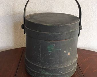 Antique Firkin, Sugar Bucket, Painted Gray Over Green, 19th Century