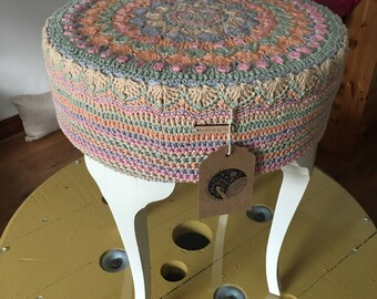 Upcycled Crochet Mandala Stool