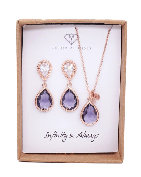 Rose Gold Tanzanite purple Teardrop Rose Gold FILLED Personalised letter Necklace Earrings - Wedding Bridesmaid bridal shower gifts weddings