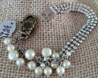 vintage bits and pieces, chippy vintage pearls and rhinestones woven for your wrist