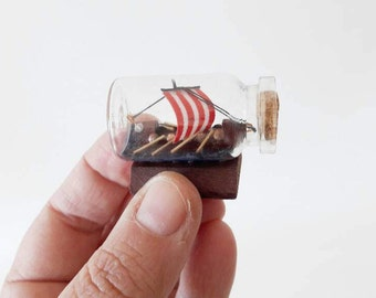 Vintage Ship in a Bottle Viking Boat Small Size
