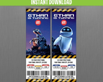 Disney WALL-E Ticket Invitations - Instant Download and Edit with Adobe Reader