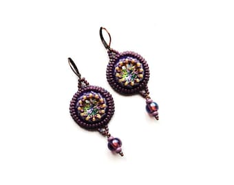 Purple Cottage chic earrings Embroidered jewelry Floral earrings Violet jewellery Flower Lilac earrings Purple gifts for women gift for her