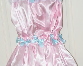 Skirted satin pantydress, silky and frilly, soft sensual baby pink satin with baby blue frills, Sissy Lingerie