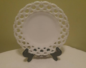Vintage Milk Glass Westmoreland Decorative Plate with Lace Edge and Flowers