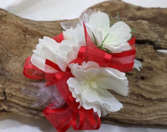 Wrist Corsage - Silk White Flower Corsage - Floral Red And White Corsage - Prom Corsage