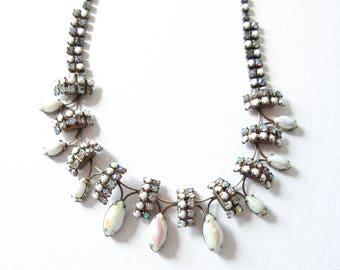 Milk Glass and Rhinestone Necklace Vintage White Jewelry