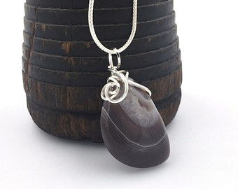 Botswana Agate Necklace, Banded Agate Pendant, Wire Wrapped Stone Jewelry, Sterling Silver Natural Stone Necklace