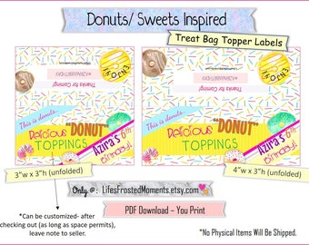 PDF Treat Bag Toppers — DONUTS/Sweets Inspired